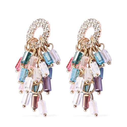 Simulated Multi Colour Diamond, White Austrian Crystal Dangling Earrings (with Push Back) in Gold Tone