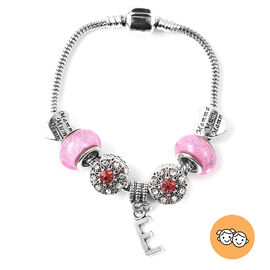 E Initial Charm Bracelet for Children in Simulated Pink Colour Bead, Red and White Austrian Crystal