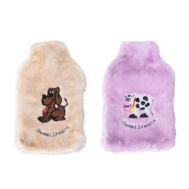 2 Piece Set - Hotwater Bottles with Super Soft Plush Cover (Size 18x32 Cm)