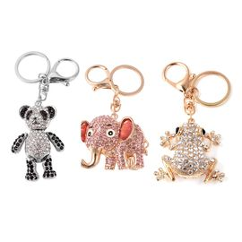 Set of 3 - Pink, Black and White Austrian Crystal Panda, Elephant and Frog Enamelled Keychain in Gol