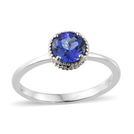 Rhapsody AAAA Tanzanite (Rnd), Diamond (VS/E-F) 950 Platinum Ring  1.050 Ct