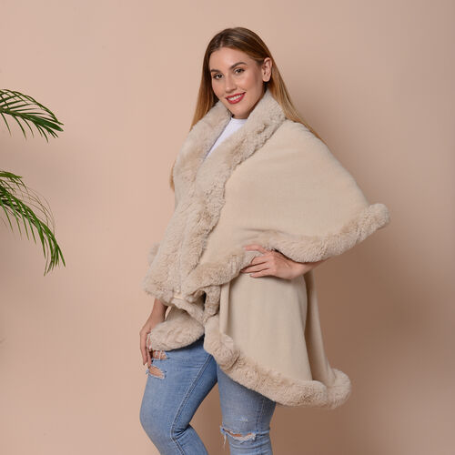 Solid Beige Kimono with Faux Fur Trim (Size 125x79cm)