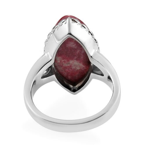 Norwegian Thulite Solitaire Ring in Stainless Steel 1.00 Ct.