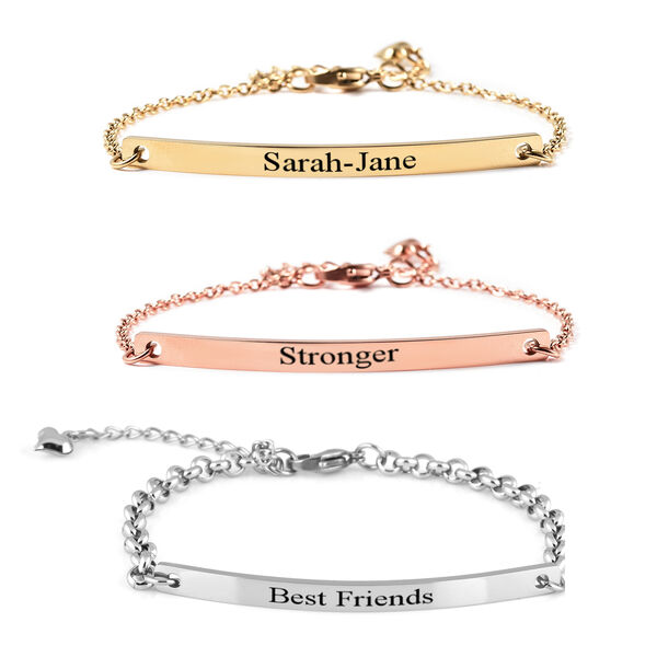 """Personalise Engravable Bar Bracelet in Stainless Steel, Size 8.5"""""""