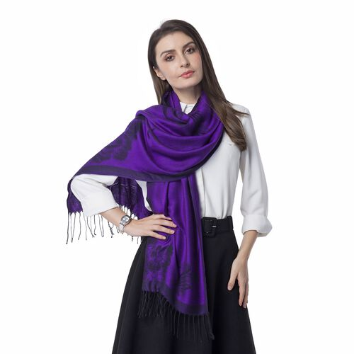Dark Purple and Black Colour Subshrubby Peony Flower Pattern Scarf (Size 180X68 Cm)