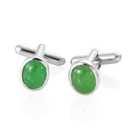 Jade Day Mega Deal-Green Jade (Ovl) Cufflink in Silver Plated 6.250 Ct