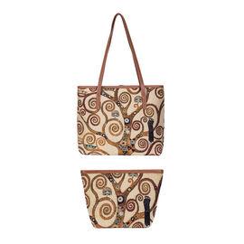 Signare Tapestry - 2 Piece Set - Gustav Klimt Tree of Life Shoulder Bag (Size 33x27x15 Cm) and Cosme