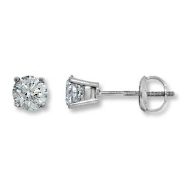 New York Close Out-14K White Gold EGL CERTIFIED Diamond (Rnd) (I1-I2/G-H) Stud Earrings (with Screw Back) 0.500  Ct.