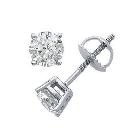 ILIANA 1 Carat Diamond Solitaire Stud Earrings in 18K White Gold With Screw Back EGL Certified SI GH