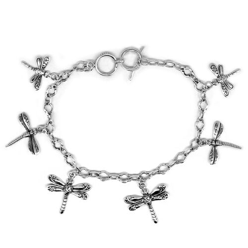 Royal Bali Collection Sterling Silver Dragonfly Charm Bracelet (Size 8 with Extender), Silver wt 10.00 Gms.