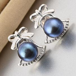 Freshwater Peacock Pearl Bell Stud Earrings in Sterling Silver