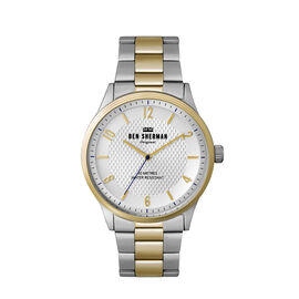 Ben Sherman Matte Silver Dial Watch with Silver and Gold Chain Strap