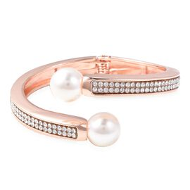 Simulated Pearl (Rnd), White Austrian Crystal Cuff Bangle (Size 7) in Rose Tone