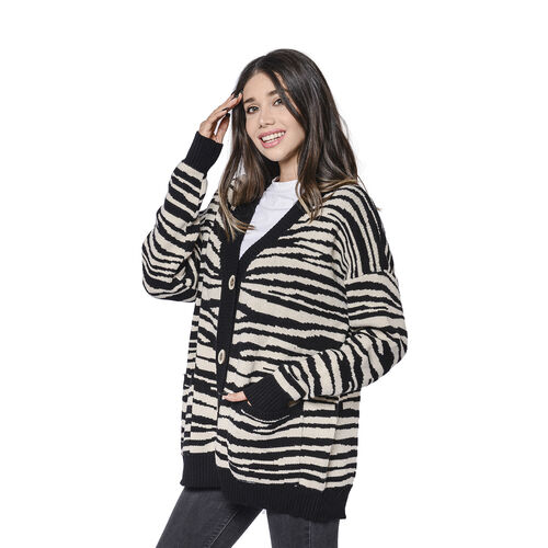 LA MAREY Black Zebra Pattern Button-Closure Cardigan with Two Pockets
