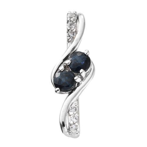 0.75 Ct Kanchanaburi Blue Sapphire and  Topaz Pendant in Platinum Plated Silver