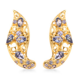 RACHEL GALLEY Tanzanite Earrings (with Push Back) in Yellow Gold Overlay Sterling Silver 2.23 Ct.