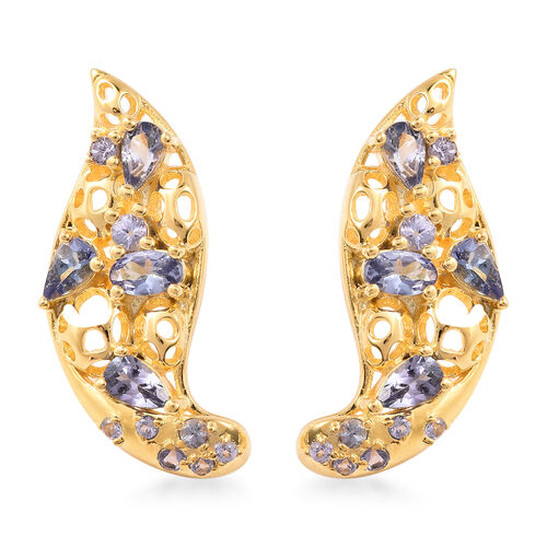 RACHEL GALLEY Misto Collection - Tanzanite Earrings (with Push Back) in Yellow Gold Overlay Sterling
