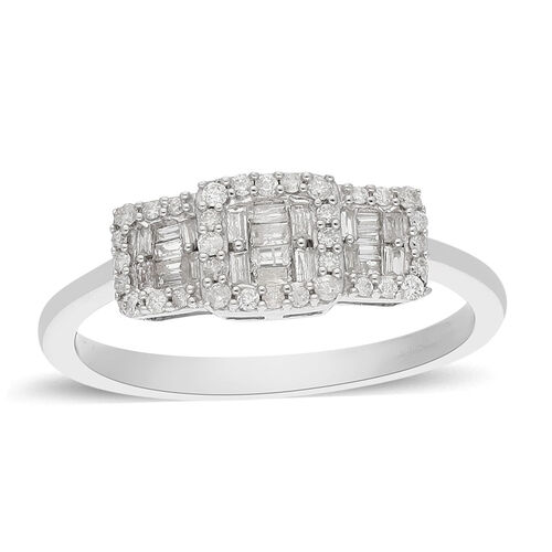 9K White Gold SGL Certified Dimaond (I3/G-H) Ring 0.33 Ct.