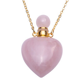 Rose Quartz Heart Shaped Perfume Bottle Necklace (Size 22) in Yellow Gold Tone 453.00 Ct.