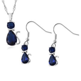 2 Piece Set - Simulated Blue Sapphire, Blue Austrian Crystal Cat Pendant with Chain (Size 20 with 2
