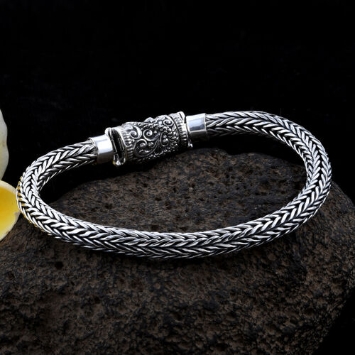 Bali Legacy Collection Sterling Silver Tulang Naga Bracelet (Size 6.5), Silver wt 24.45 Gms.