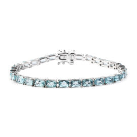 13.50 Ct AA Paraibe Apatite Tennis Bracelet in Rhodium Plated Sterling Silver 7 Inch