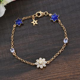 GP Italian Garden Leaf & Flower Collection - Tanzanite, Natural Cambodian Zircon and Multi Gemstone Enamelled Bracelet (Size 7.5) 14K Gold Overlay Sterling Silver 1.00 Ct.