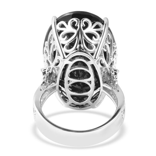 Natural Boi Ploi Black Spinel (Ovl and Rnd) Ring in Rhodium Overlay Sterling Silver 50.50 Ct, Silver wt 7.00 Gms