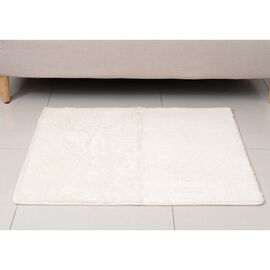 Premium Supersoft Low Pile Microfibre Padded Side Rug in Cream Colour with Anti Slip Backing (Size 98x79 cm)