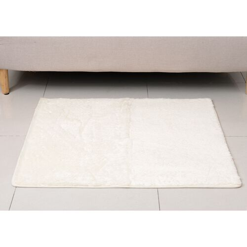 Premium Supersoft Low Pile Microfiber Padded Side Rug in Cream Colour with Anti Slip Backing (Size 98x79 cm)