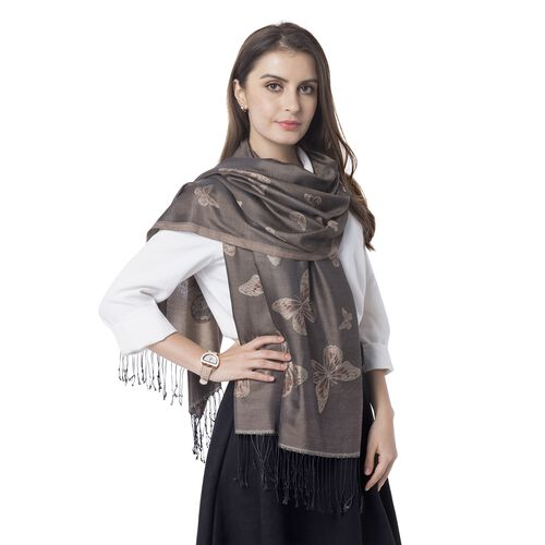 Brown Colour Scarf with Butterfly Pattern with Tassels (Size 180x70 Cm)