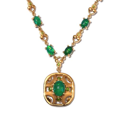 Green Ethiopian Opal Enamelled Necklace (Size 18) in 14K Gold Overlay Sterling Silver 7.75 Ct, Silve