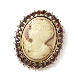 Cameo (Ovl), Brown Austrian Crystal, Magic Colour Austrian Crystal Brooch in Gold Plating