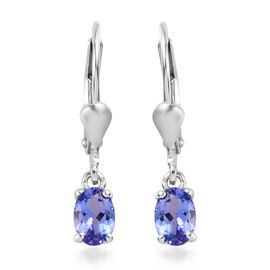 AA Tanzanite (Ovl) Lever Back Earrings in Platinum Overlay Sterling Silver 0.750  Ct.