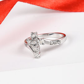 Personalise Engravable Diamond Cross Ring in Silver