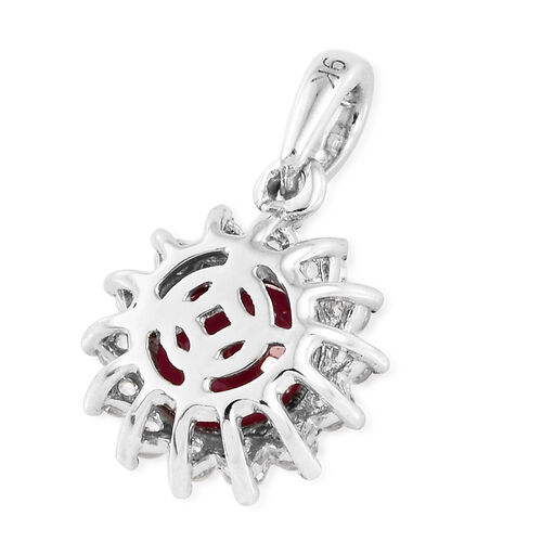 9K White Gold AA  African Ruby (Rnd), Natural Cambodian Zircon Pendant 1.500 Ct.
