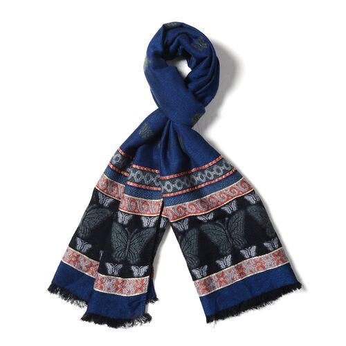 Navy Blue, Grey and Multi Colour Scarf with Butterfly and Strip Pattern (Size 170x68 Cm)