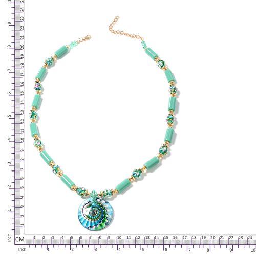 Murano Style Glass (Rnd), Aqua Green Ceramic, Simulated Emerald, White Austrian Crystal and Multi Colour Beads Necklace (Size 26 with 2.50 inch Extender) in Gold Plated