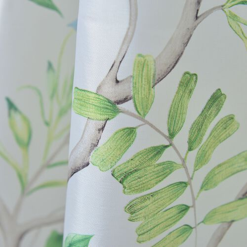 Cream, Green and Multi Colour Floral Pattern Water Proof Shower Curtain (Size 180X180 Cm) with 12 Plastic Hooks