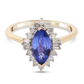 9K Yellow Gold Tanzanite and Diamond Halo Ring 1.27 Ct.