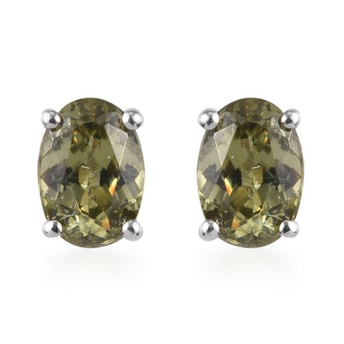 9K White Gold AA Demantoid Garnet Stud Earrings (with Push Back) 1.10 Ct.
