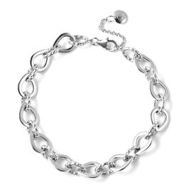 Super Find- RACHEL GALLEY Rhodium Overlay Sterling Silver Love Link Bracelet (Size 7.5 with 1 inch E