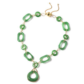 Limited Edition- Green Jade, Natural Cambodian Zircon Necklace (Size 20)  in Yellow Gold Overlay Ste