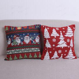 Christmas Decoration- 2 Piece Set Cushion Cover (Size 45x45cm) - White Christmas Tree and Santa Clau