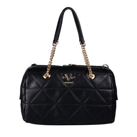 19V69 ITALIA by Alessandro Versace Quilted Pattern Crossbody Bag with Detachable Strap (Size 27x10x18cm) - Black