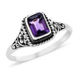 Royal Bali Collection 0.99 Ct. Amethyst Oct Solitaire Ring in Sterling Silver