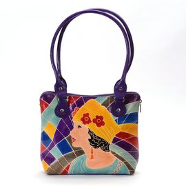 Contemporary Art Collection100% Genuine Leather Modern Lady Hand Painting  Shoulder Bag (Size 32.5x2