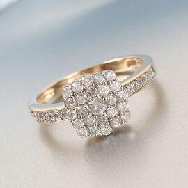 9K Yellow Gold  White Diamond Ring in Rhodium Overlay 0.51 ct,  Gold Wt. 2.82 Gms  0.510  Ct.