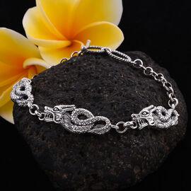 Royal Bali Collection - Sterling Silver Dragon Bracelet (Size 8), Silver wt. 14.60 Gms
