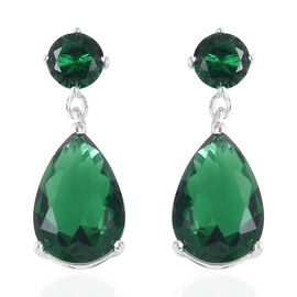 ELANZA Simulated Emerald Drop Earrings in Sterling Silver With Push Back